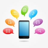 Phone and icons Stock Photo