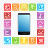 Phone and icons. Mobile phone and icons on gray background Royalty Free Stock Photography