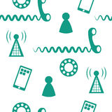 Phone Icons Seamless 2. Seamless pattern of phone icons and symbols green Royalty Free Stock Image