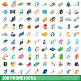 100 phone icons set, isometric 3d style Royalty Free Stock Images