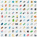 100 phone icons set, isometric 3d style Stock Photography