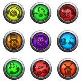 Phone icons set. Phone round glossy icons for web site and user interfaces Stock Image