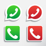 Phone icons set in speech bubble and button Royalty Free Stock Photos