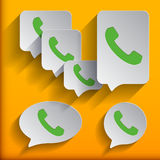 Phone icons set in speech bubble and button Royalty Free Stock Photography
