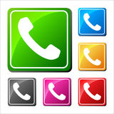 Phone icons set in speech bubble and button Royalty Free Stock Image