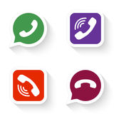 Phone icons set in speech bubble and button stock illustration
