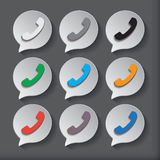 Phone icons set in speech bubbles Royalty Free Stock Photography