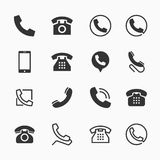 Phone icons, set of 16 telephone symbols Stock Photo
