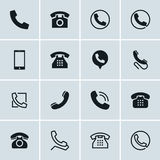 Phone icons, set of 16 telephone symbols Stock Photos