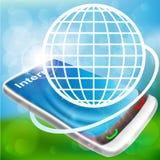 Phone with illuminated globe Stock Images