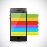 Phone and info graphic color lines illustration Royalty Free Stock Photos