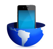 Phone inside a globe illustration Royalty Free Stock Photography