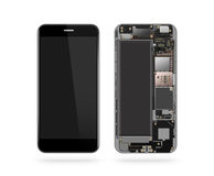 Phone inside isolated, chip, motherboard, processor, cpu Stock Photo