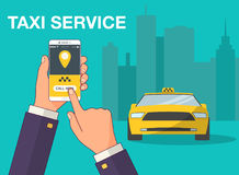Phone with interface taxi on a screen on a background the city. Mobile app for booking service. Flat vector illustration Stock Image