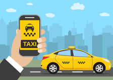 Phone with interface taxi Royalty Free Stock Photos
