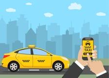 Phone with interface taxi Stock Photos