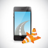Phone and internet road illustration design Royalty Free Stock Images