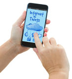 Phone with internet of things screen Royalty Free Stock Images