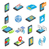Phone isometric 3d icons. Set  on white background Royalty Free Stock Images