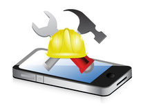 Phone with issues and under construction sign Stock Images