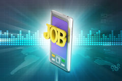 Phone with job application Royalty Free Stock Images