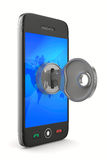 Phone with key on white background Royalty Free Stock Image