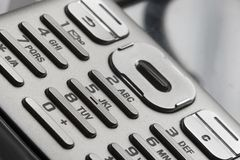 Phone Keypad. Close up of mobile phone keypad soft lighting Stock Image