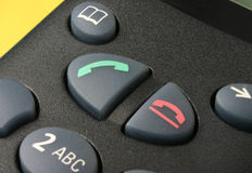 Phone keypad. Macro of a phone keypad, focus is set on the call button Royalty Free Stock Photos