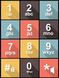 Phone keypad in Flat Design for Web and Mobile. Phone keypad Icons in Flat Design for Web and Mobile. Square buttons Stock Photography