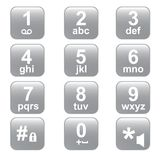 Phone keypad, gray telephone buttons. The telephone keyboard of gray colour. Square buttons Royalty Free Stock Photos