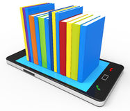 Phone Knowledge Online Indicates World Wide Web And Book Stock Images