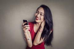 phone kvinnan arkivbild