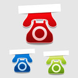 Phone labels - contact symbol Stock Photo