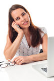 Phone, laptop and beauty Stock Photography