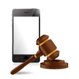 Phone and law hammer illustration. Design over a white background Stock Image