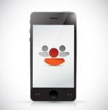 Phone and leader team concept illustration stock illustration