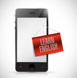 Phone and learn english sign banner illustration Royalty Free Stock Photos
