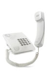 Phone with the lifted tube. Simple white phone with the lifted tube isolated Stock Photography