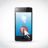 Phone, light bulb cursor illustration Stock Photos