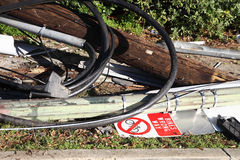 Phone and light pole after accident Stock Image