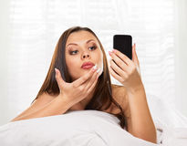 Phone like a mirror Royalty Free Stock Images