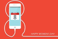 Phone with line eight wire. Outline 8 March smartphone charge, International Women`s Day card. Eps10. Vector illustration. Holiday banner, flayer, menu Royalty Free Stock Images