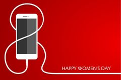 Phone with line eight wire. Outline 8 March smartphone charge, International Women`s Day card. Eps1-. Phone with line eight wire. Outline 8 March smartphone Royalty Free Stock Photo