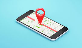 Phone with location map, holiday or destination Royalty Free Stock Photos