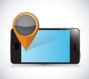 Phone and locator pointer illustration design Stock Image