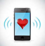Phone love connection illustration design Royalty Free Stock Images