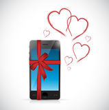 Phone love gift with hearts and ribbons. Royalty Free Stock Photos