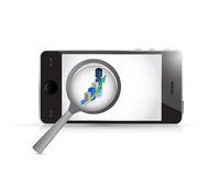 Phone magnify business concept illustration Royalty Free Stock Photo