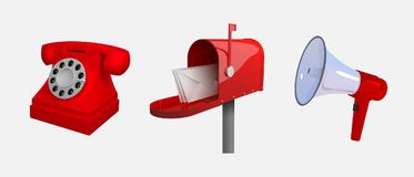 Phone, mail box, megaphone. Means of communication. Set of objects isolated on white background. Reclastic stylized 3d vector illu Stock Photography