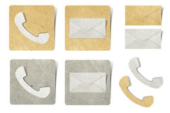 Phone and mail recycled paper Royalty Free Stock Photography